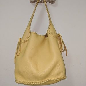 Cole Haan Yellow Raleigh Whipstich Hobo Handbag